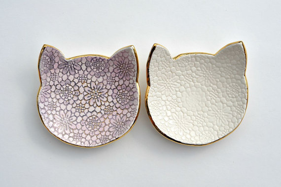 Cat face jewelry dish