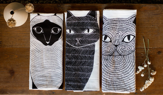 cat illustration tea towels