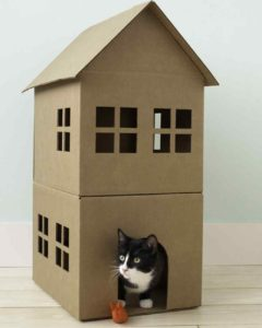 double decker cat playhouse cardboard